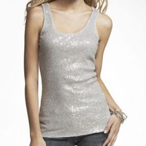Express White Sequin Front Tank Top